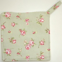 Pot Holder Potholder Kitchen Grab Mat Pad Pink Rosebud Green Roses