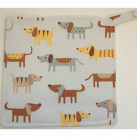 Pot Holder Dachshund Potholder Kitchen Grab Mat Pad Grey Brown Mustard