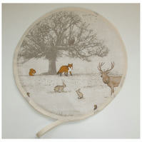 Aga Hob Lid Mat Pad Hat Round Cover Stag Fox Squirrel Rabbit Owl Wildlife