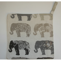 Elephant Pot Holder Potholder Kitchen Grab Mat Pad Grey Elephants