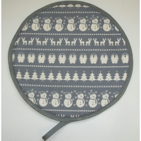 Christmas Aga Hob Lid Mat Pad Hat Round Cover Snowman Penguin Tree