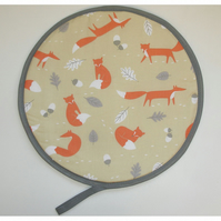 Foxes Aga Hob Lid Mat Pad Hat Round Cover Surface Saver Orange Red Fox