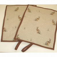 Pair of Hare Rayburn 600 Hob Lid Mat Covers 2 x Rabbit Brown Hares Cover