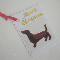 3 Christmas Dachshund Gift Tags Pack of Three Sausage Dogs Xmas
