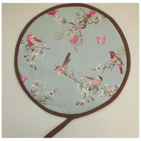 Aga Hob Lid Mat Pad Hat Round Cover With Loop Birds Butterflies Blossom Pink