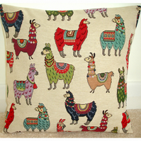 "Llama 16 inch Cushion Cover 16"" Alpaca Red Duck Egg Green"