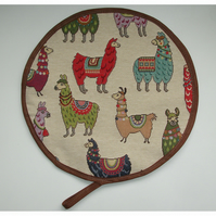 Llama Aga Hob Lid Pad Mat Hat Round Cover With Loop Surface Saver Alpaca