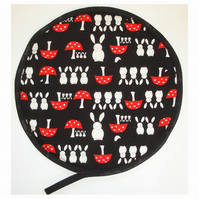 Rabbit Aga Hob Lid Mat Pad Hat Round Cover Surface Saver Rabbits Mushroom
