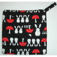 Rabbit Pot Holder Potholder Kitchen Grab Mat Pad Rabbits Mushrooms Red and Black