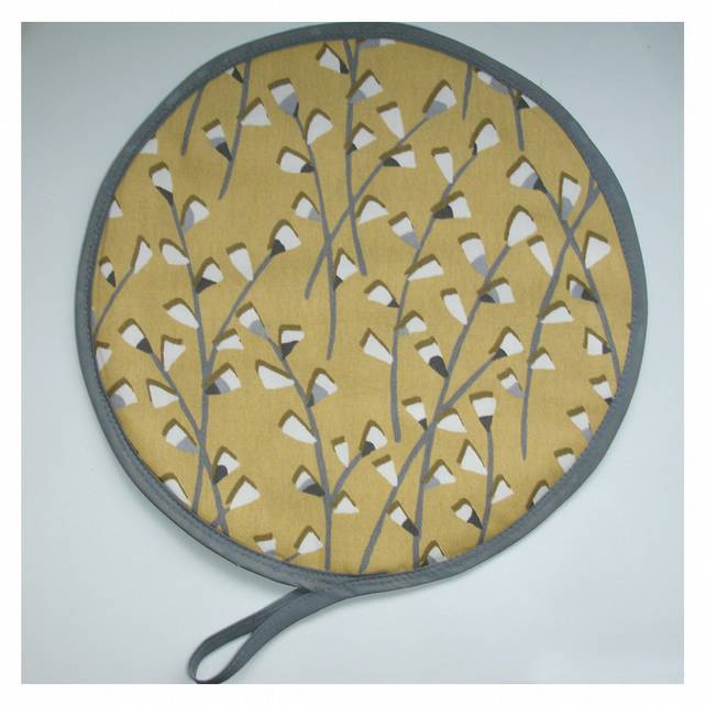 Aga Hob Lid Mat Pad Hat Round Cover Surface Saver Mustard Grey Leaves