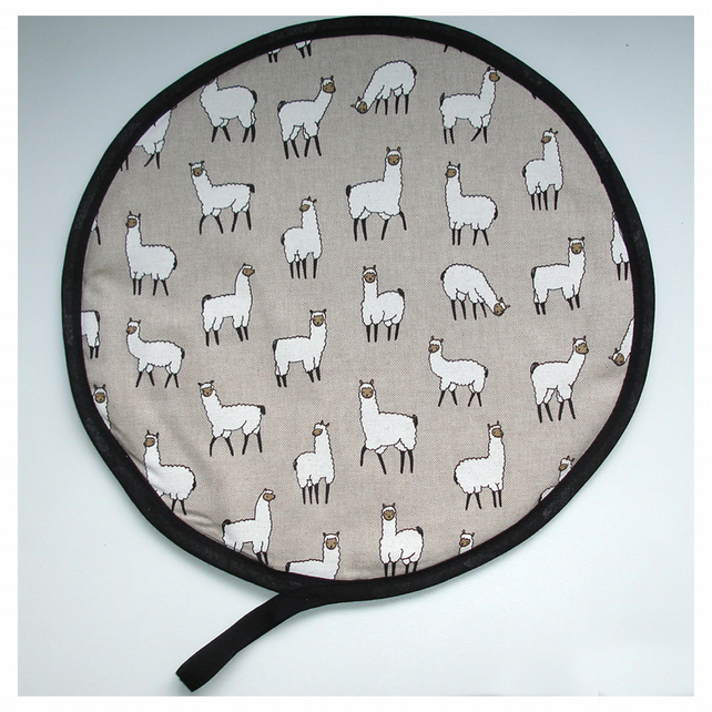 Llama Aga Hob Lid Mat Pad Hat Round Cover With Loop Surface Saver Alpaca Linen