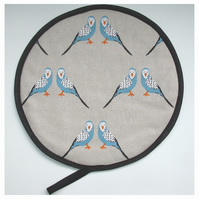 Budgie Aga Hob Lid Mat Pad Hat Round Cover With Loop Surface Saver Budgerigar