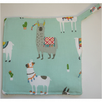 Llama Pot Holder Potholder Kitchen Grab Mat Pad Llamas Mint Green