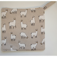 Llama Pot Holder Potholder Kitchen Grab Mat Pad Alpaca Black White Linen