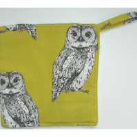 Pot Holder Oven Grab Pad Kitchen Mat Owl Owls Mustard Yellow
