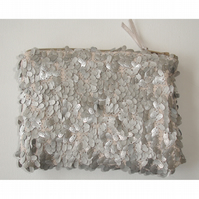 Sequin Silver Grey Coin Purse