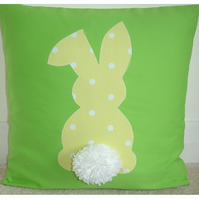 Easter Bunny Rabbit Cushion Yellow White and Green Fluffy Pom Pom Tail