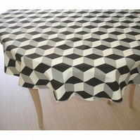 "Round Tablecloth 48"" Black Grey and White Circular"