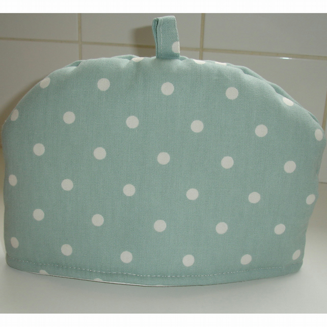 Tea Cosy For A Small Teapot Duck Egg and White Polka Dot