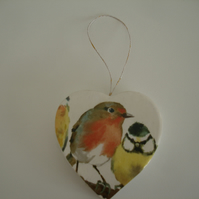 Heart Hanger Laura Ashley Garden Birds Robin Hanging Decoration