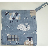 Sheep Pot Holder Potholder Kitchen Grab Mat Pad Denim Blue