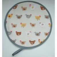 Chickens Aga Hob Lid Mat Pad Hat Round Cover Surface Saver Hens Rooster Yellow