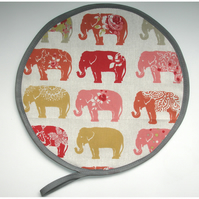 Elephants Aga Hob Lid Mat Pad Hat Round Cover Surface Saver Elephant Red Mustard
