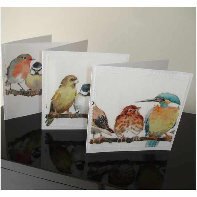 Pack of Three Bird Blank Greetings Cards Notelets Garden Birds x 3 Laura Ashley