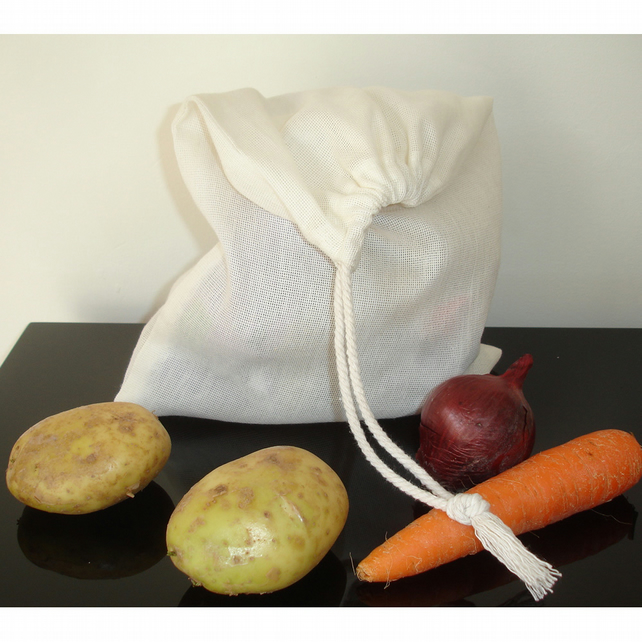Pack of 3 x Reusable Fruit and Veg Produce Drawstring Bag Eco-friendly Bags