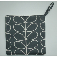 Pot Holder Potholder Grab Mat Kitchen Cookware Pad Grey Stem Leaves