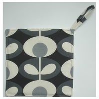 Pot Holder Potholder Grab Mat Kitchen Cookware Pad Grey Retro Flower