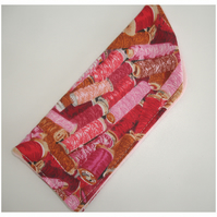 Sewing Thread Glasses Case Sleeve Pink and Brown Cotton Reels