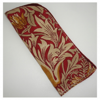William Morris Glasses Case Sleeve Snakeshead Claret Red and Gold