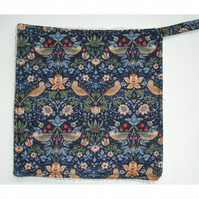 William Morris Strawberry Thief Bird Pot Holder Navy Blue Kitchen Grab Mat Pad