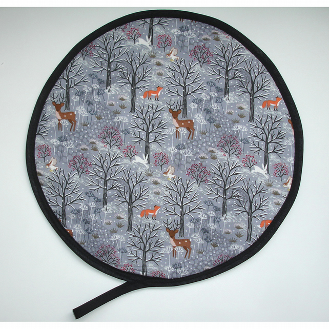 Aga Hob Lid Mat Pad Hat Round Cover With Loop Winter Woodland Fox Deer Owl