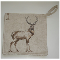 Stag Pot Holder Potholder Kitchen Grab Mat Pad Highland Glencoe Scottish Antlers
