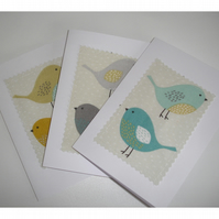 Pack of Three Bird Blank Greetings Cards Notelets Birds x 3