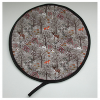 Aga Hob Lid Mat Pad Hat Round Cover With Loop Fox Deer Owl Winter Woodland
