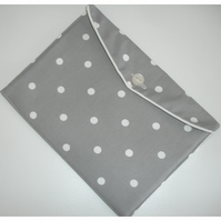 iPad Case Cover Sleeve Air 2 Polka Dot Grey and White With Button
