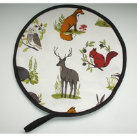 Aga Hob Lid Mat Pad Hat Round Cover With Loop Fox Stag Owl Badger Animal