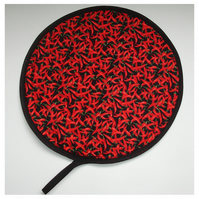 Red Hot Chilli Pepper Aga Hob Lid Mat Pad Round Cover With Loop Cayenne Chillis