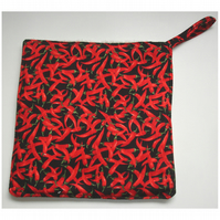 Pot Holder Kitchen Grab Pad Mat Red Hot Chilli Peppers Black