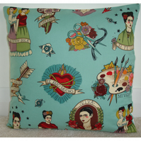 "Frida Kahlo 16"" Cushion Cover 16x16 Duck Egg Mexican Artist"