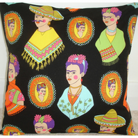 "Frida Kahlo 16"" Cushion Cover 16x16 Black Mexican Artist"