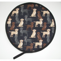 Black Labrador Golden Chocolate Brown Dog Aga Hob Lid Mat Pad Hat Round Cover