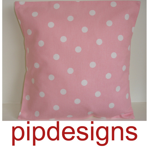 16 inch Cushion Cover Baby Pink White Polka Dot Dots Spots 16""