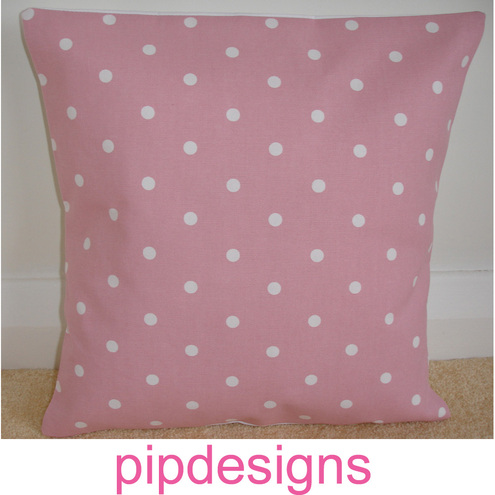 16 inch Cushion Cover Pink Polka Dot Dots Spots 16""