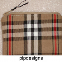 Brown and Red Tartan Plaid Check Coin Purse
