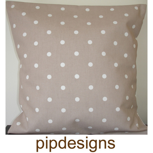 16 inch Cushion Cover Mushroom Taupe Brown And White Polka Dot Dots Spots