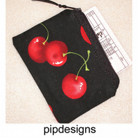 Red Cherry Cherries On Black Coin Purse